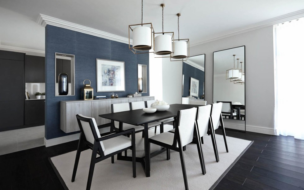 WHITE AND GREY LARGE DINING ROOM