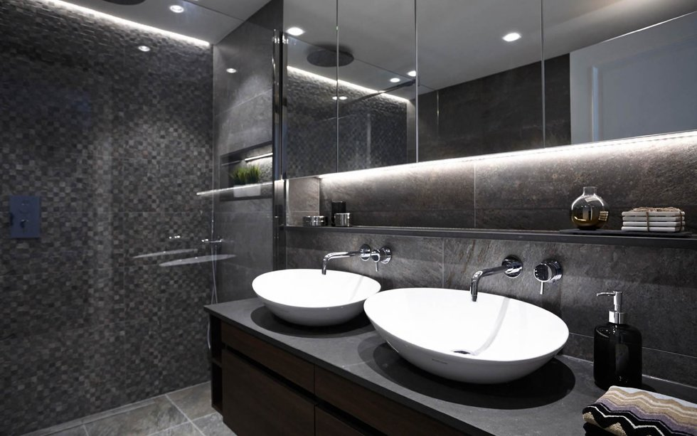 Luxury Black Bathroom with his and her sinks