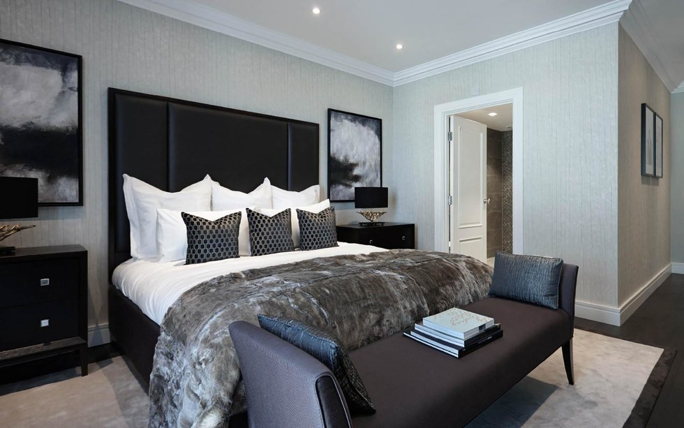 Luxurious light grey bedroom by Brian Yates