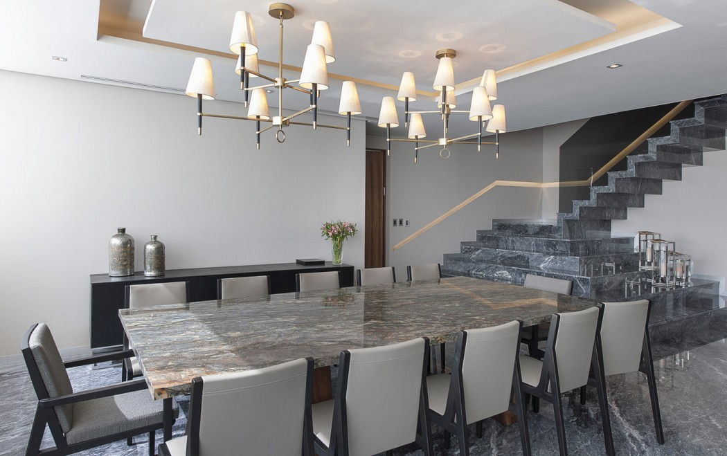 large grey marble dining room