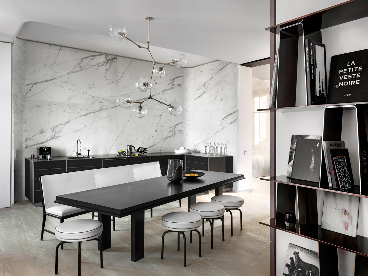 light grey marble Dining Room