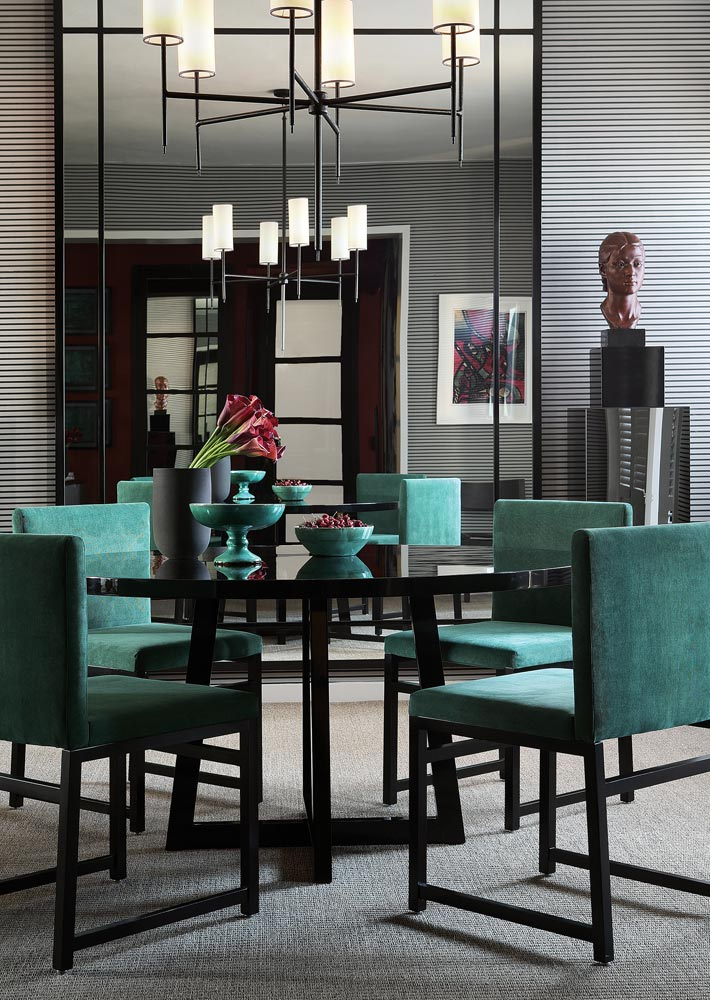 Green teal and grey Dining Room