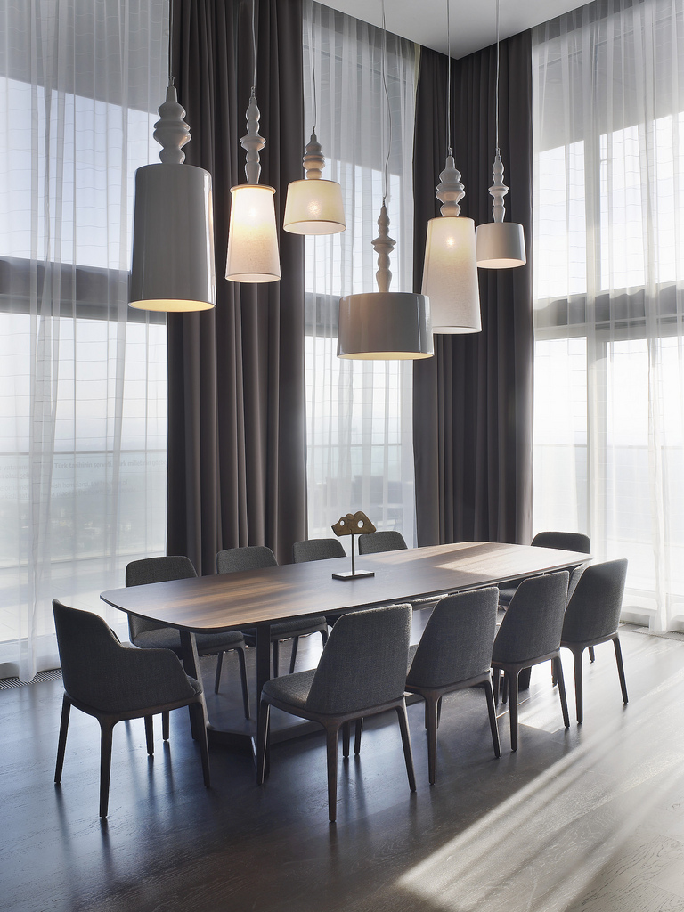 Large grey dining room
