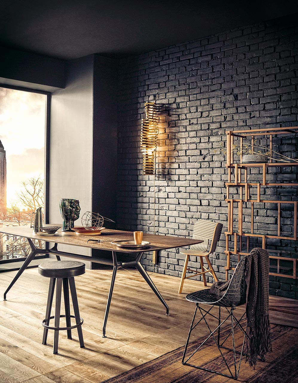 Grey exposed brick wall in loft style living room