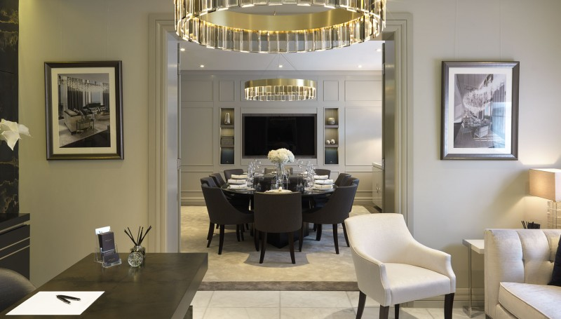 luxury gold and cream dining room