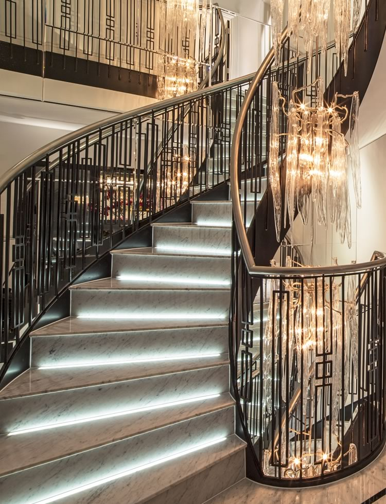 Elegant grey marble staircase with integrated lighting