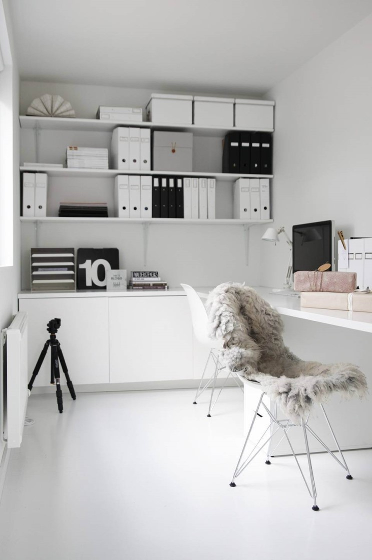 White minimalist home office space