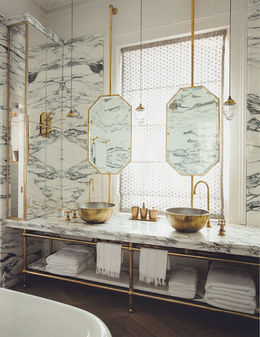 Gold and marble luxury bathroom design