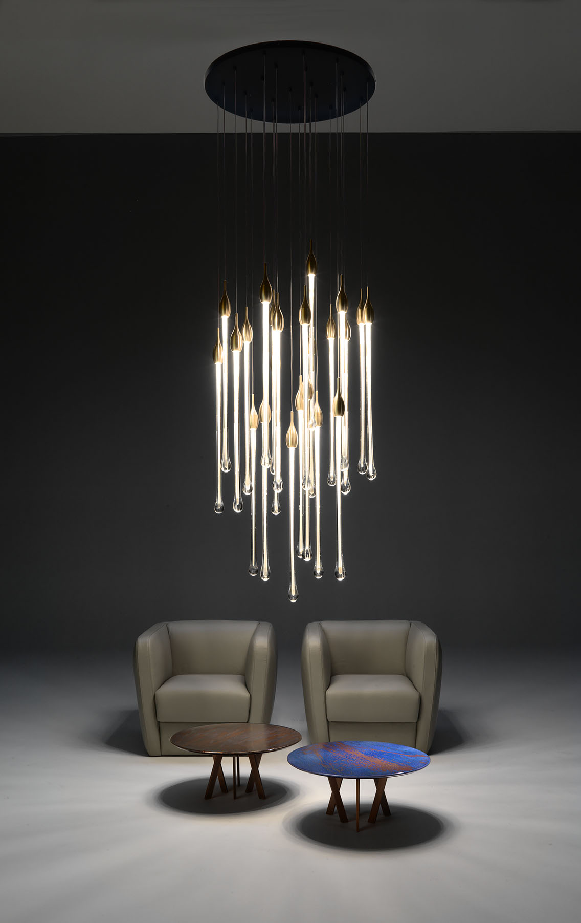 Muranese long glass tube ceiling light by Paolo Castelli