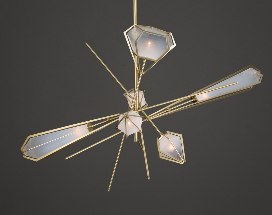 Large star gold and glass Chandelier by Gabriel Scott