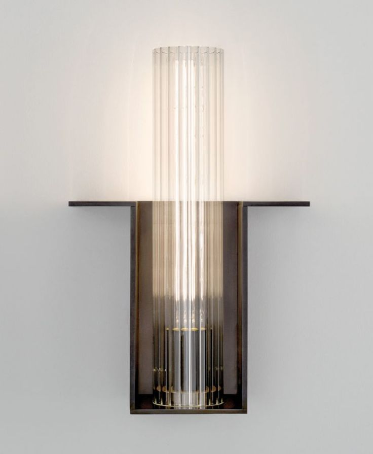 Dark bronze and glass cylinder wall light by Jonathan Browning inc