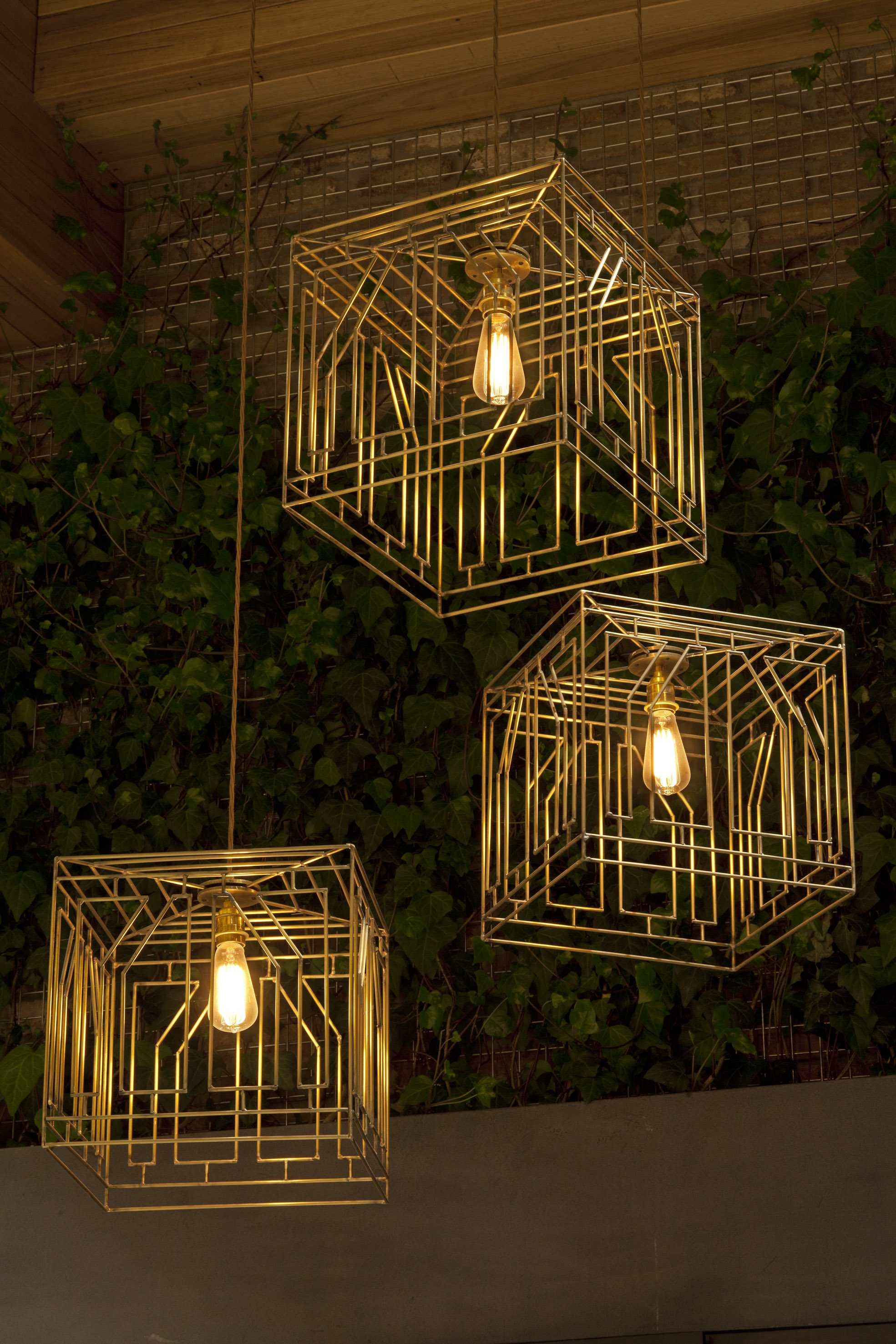 large Gold cube ceiling lights