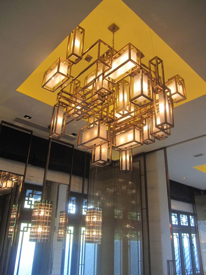 yabu pushelberg large bronze geometric ceiling light