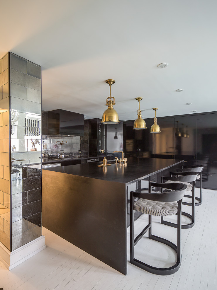 Large kitchen with waterfall island