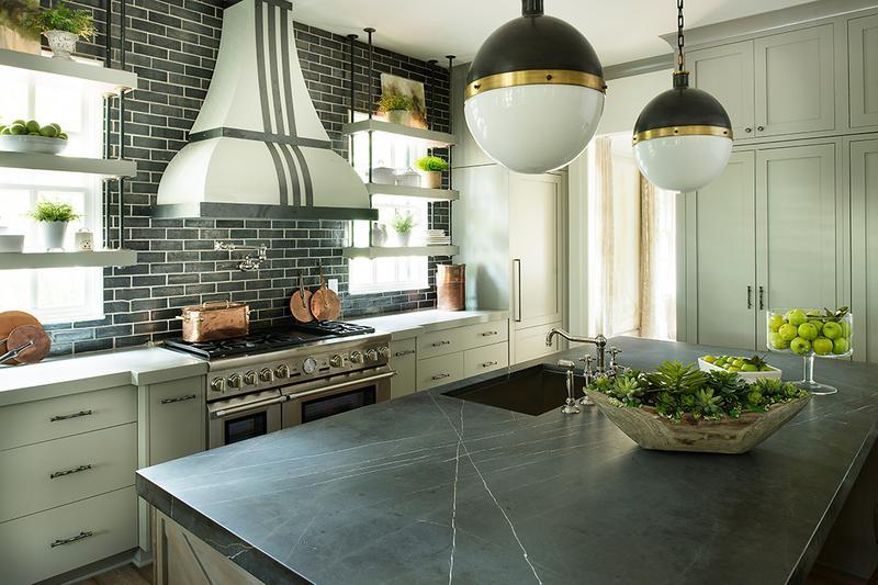 Large grey kitchen with circular ceiling lights