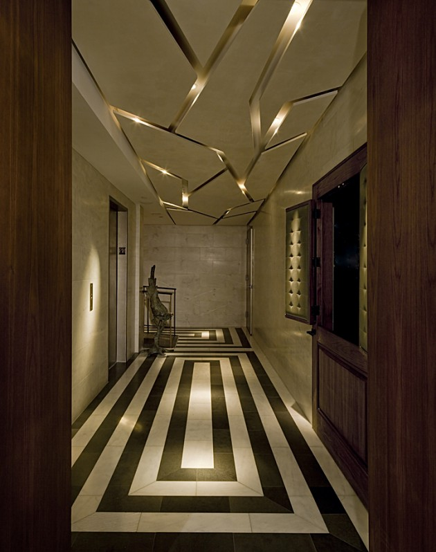 Large beige and gold hallway