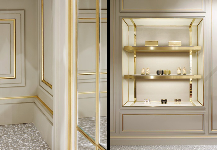 White and gold shelves