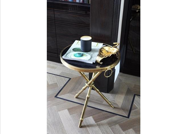 Small round gold side table