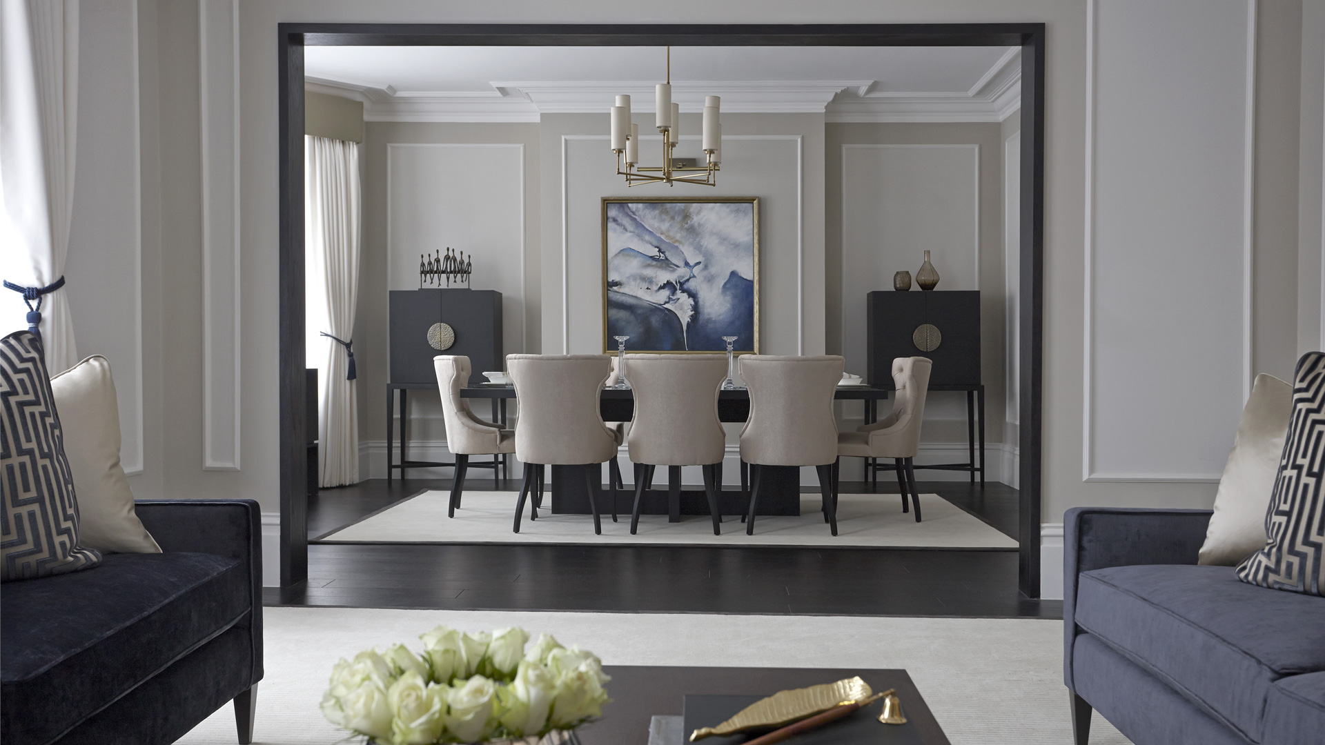 Large luxury grey dining room