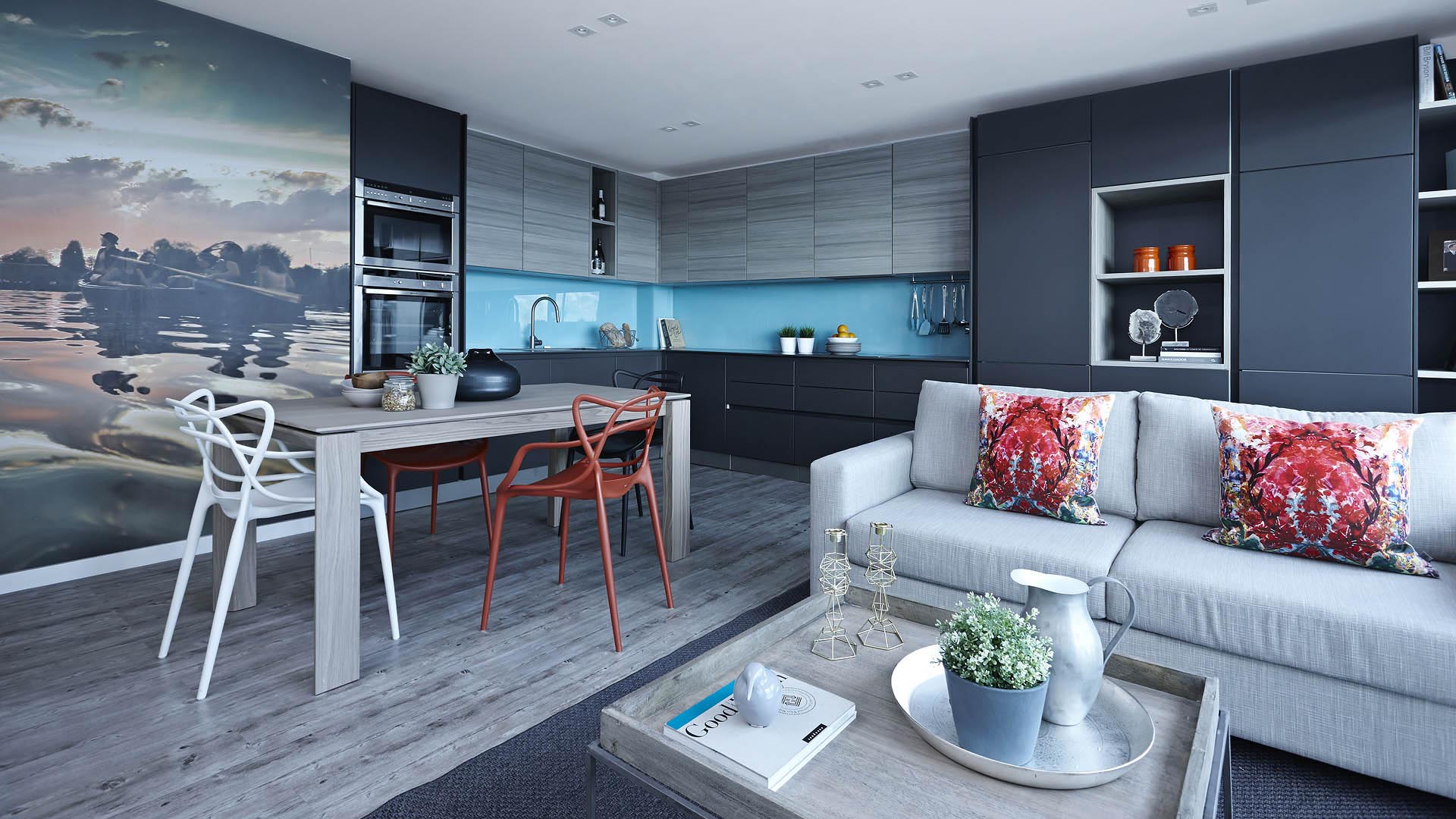 Blue and grey luxury loft style apartment