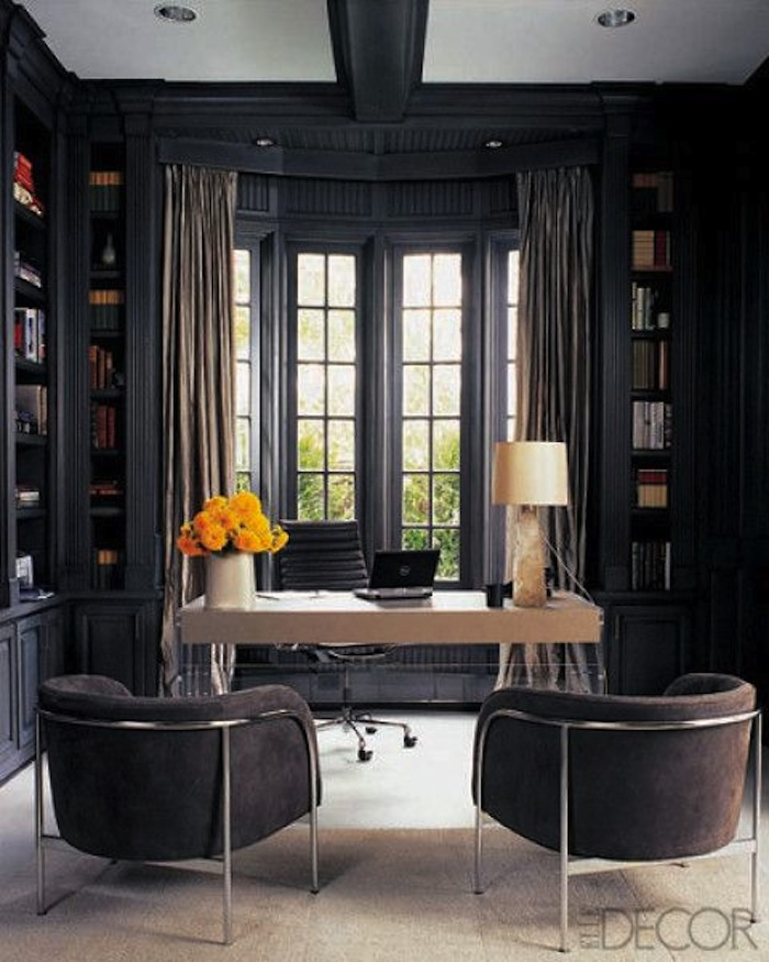 Large dark grey home office