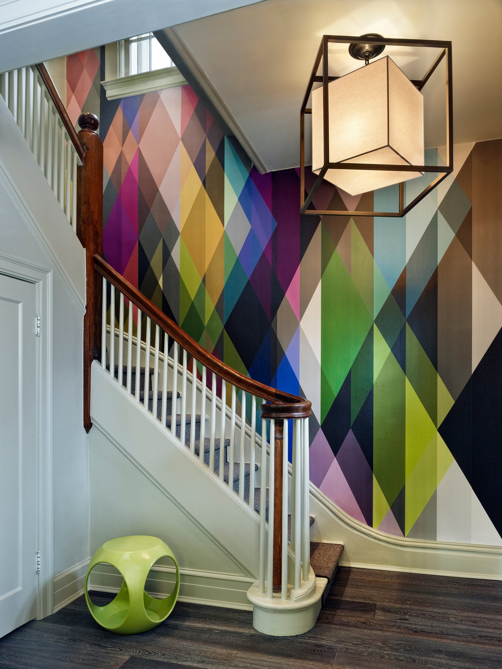Geometric wallpaper on staircase