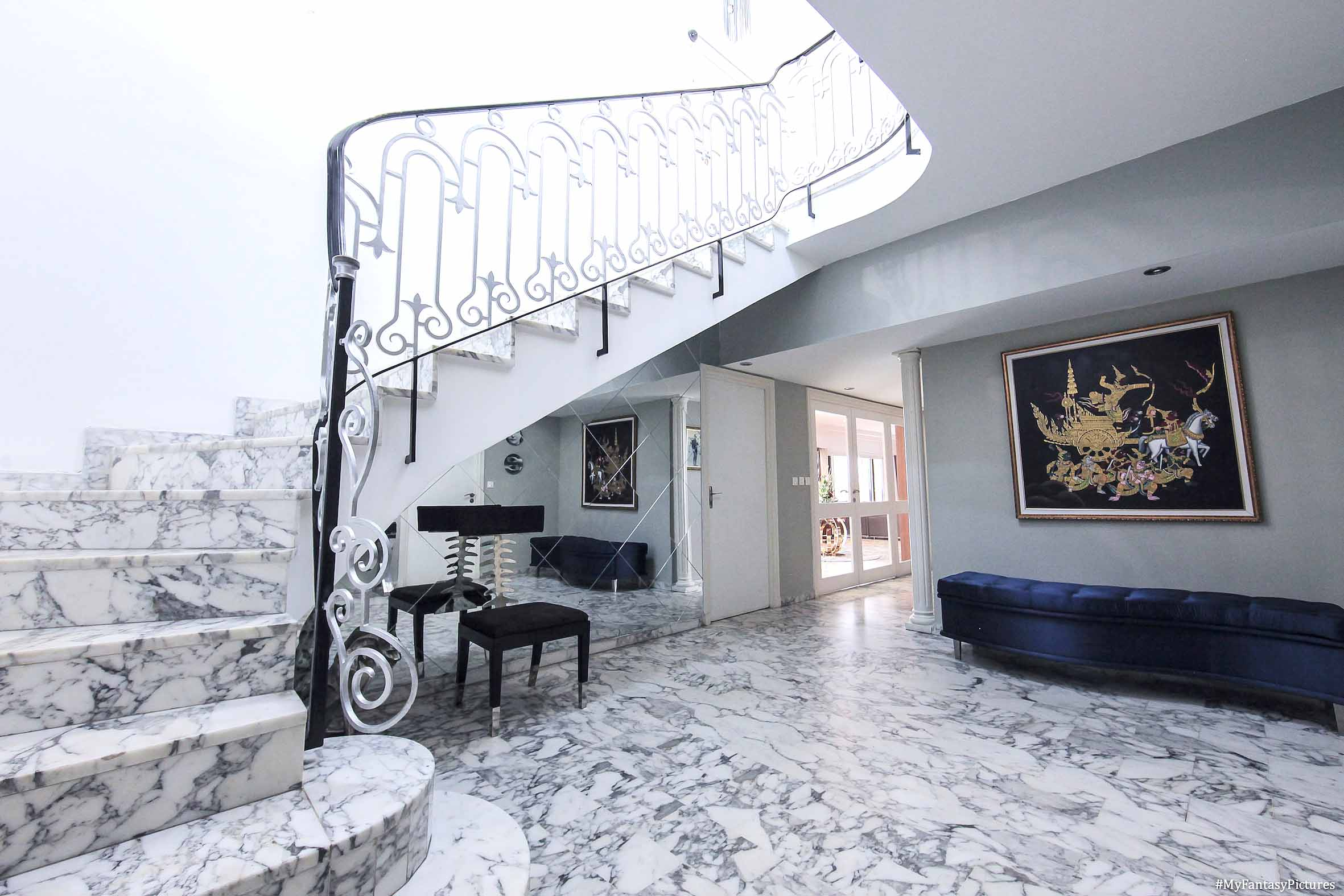 White and grey marble staircase