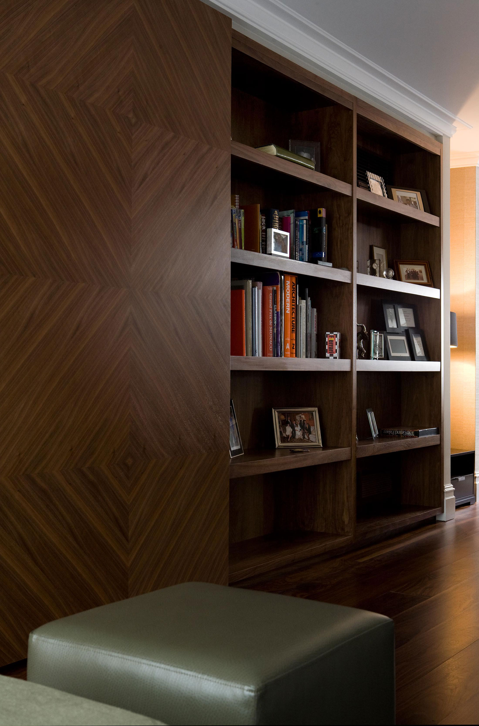 Large wooden wardrobes in home office