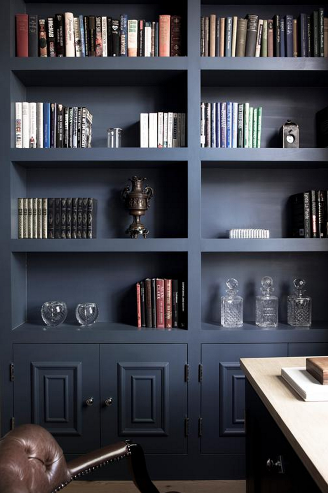 Matte black bookshelves