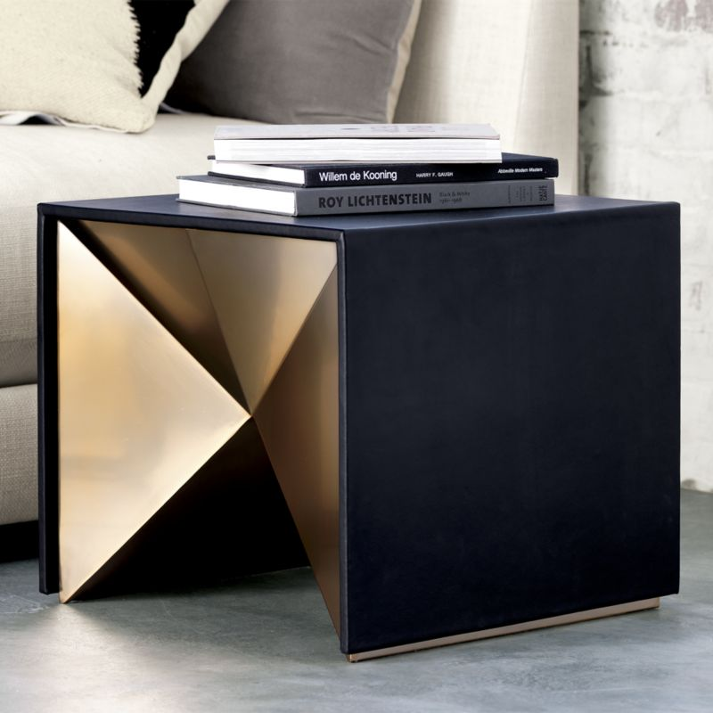 Black and bronze cube side table