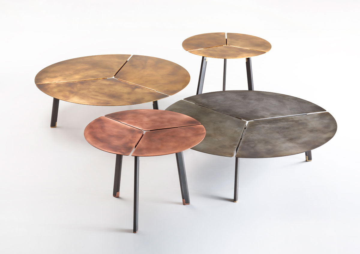 DeCastelli solid brass round tables