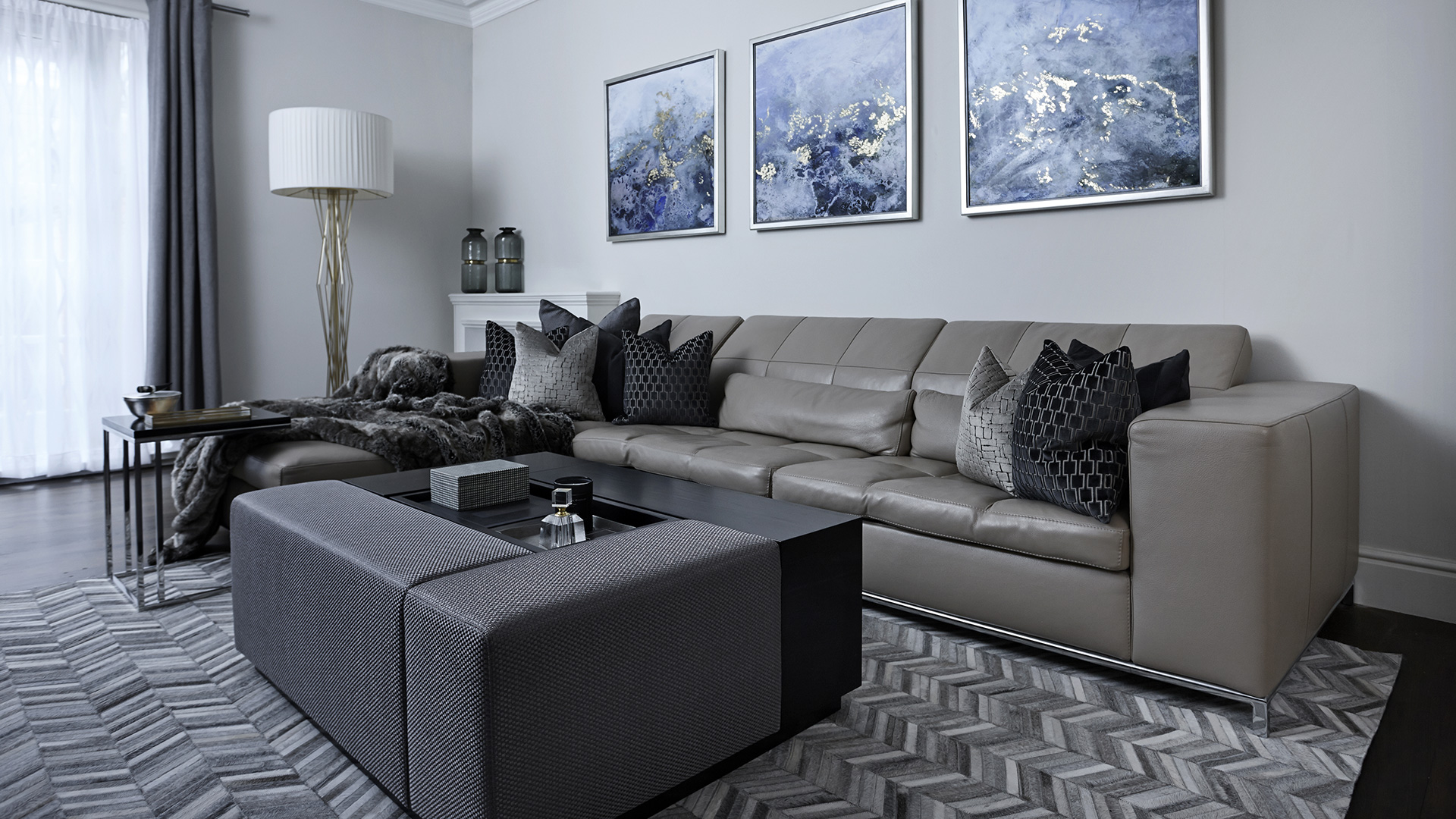 Grey leather sofa in living room