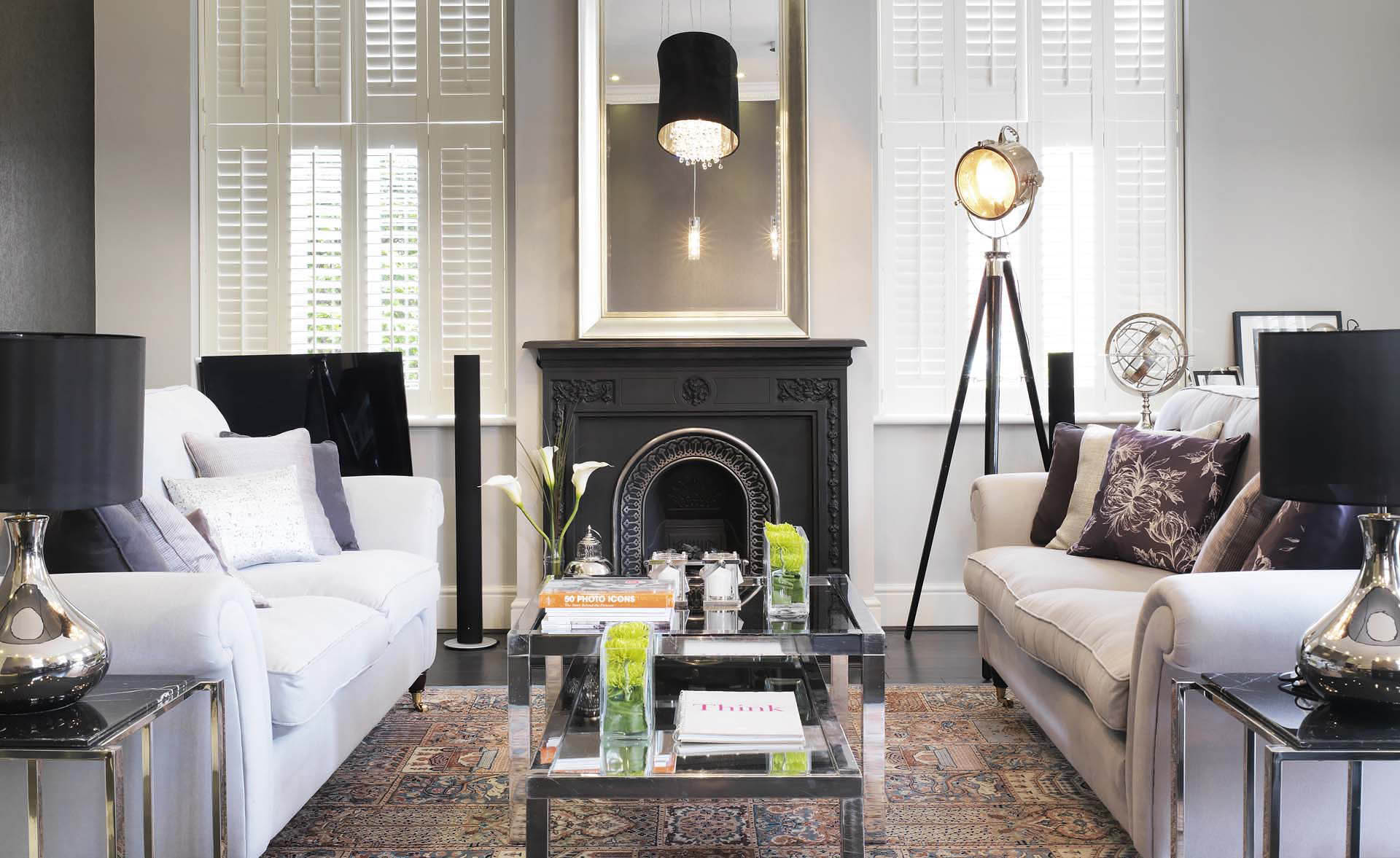 Charcoal grey fireplace in livingroom