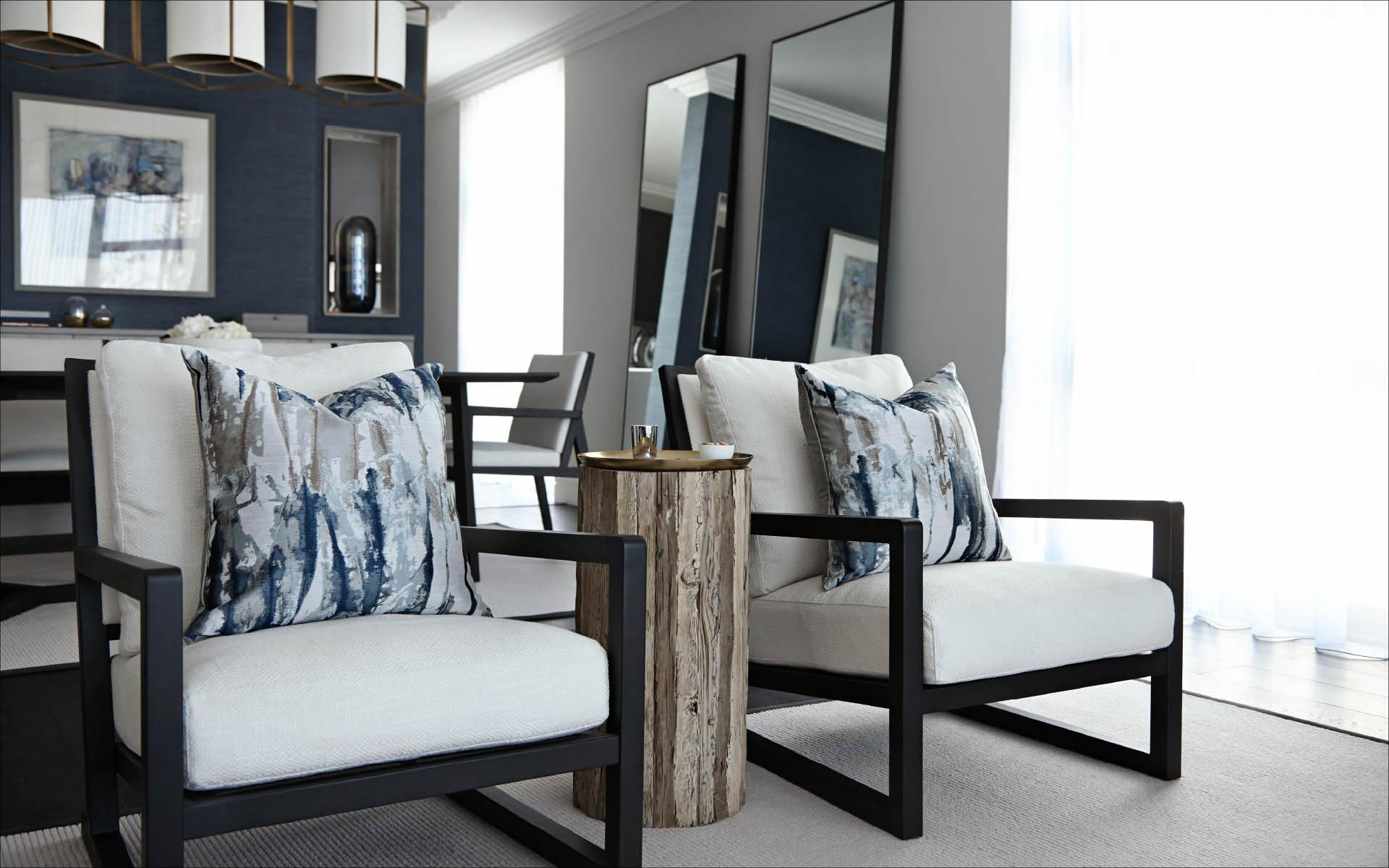Dark grey and white living room chairs