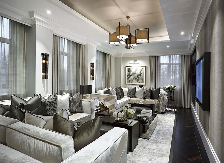 Large Luxury Living Room With Grey Tones, 2 Corner Sofa Units Create A  Central Area